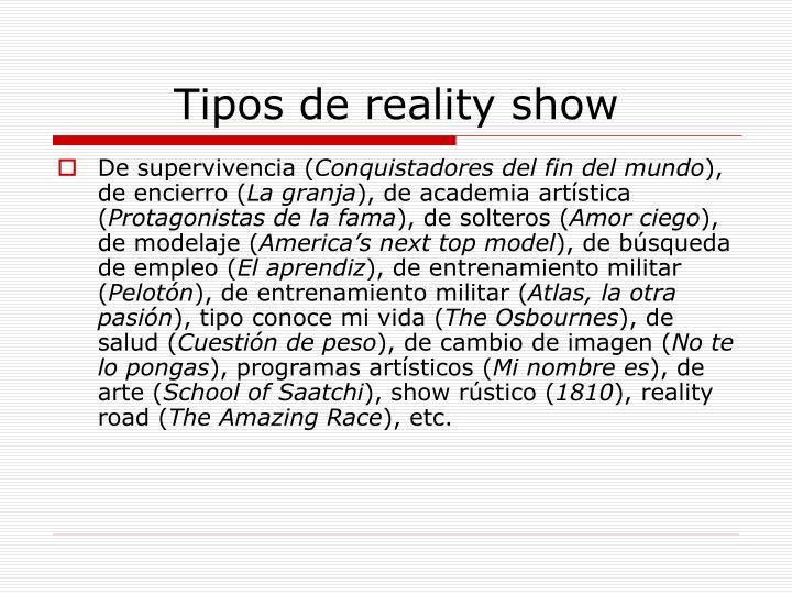 Tipos de reality show