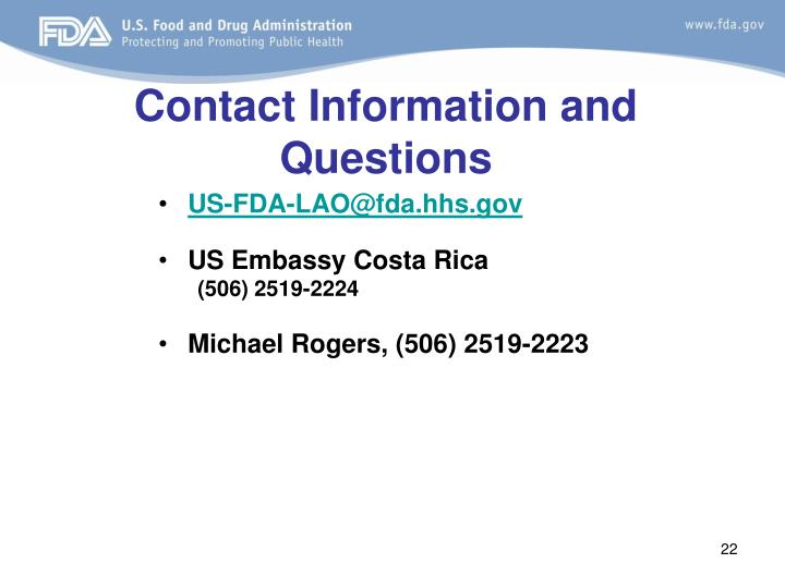 Contact Information and Questions