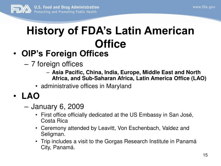 History of FDA's Latin American Office