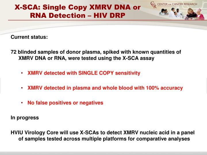 X-SCA: Single Copy XMRV DNA or RNA Detection – HIV DRP