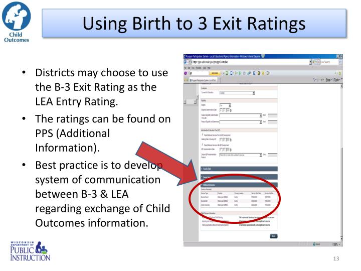 Using Birth to 3 Exit Ratings
