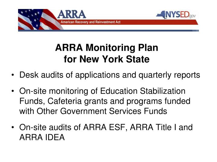 ARRA Monitoring Plan