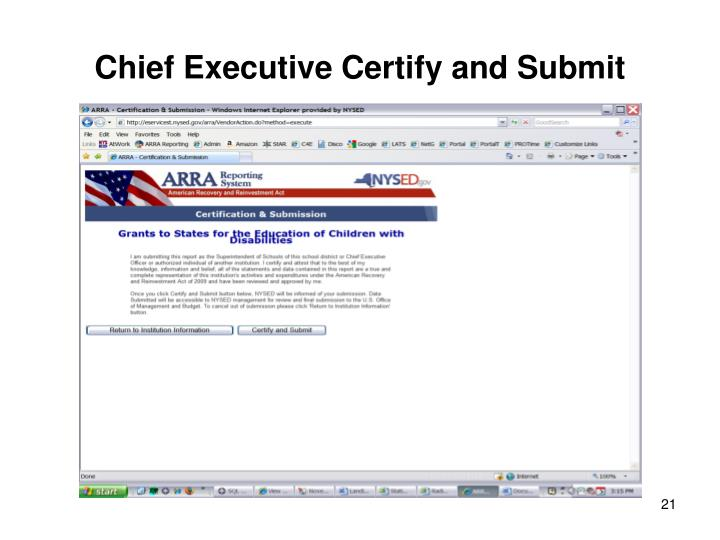Chief Executive Certify and Submit
