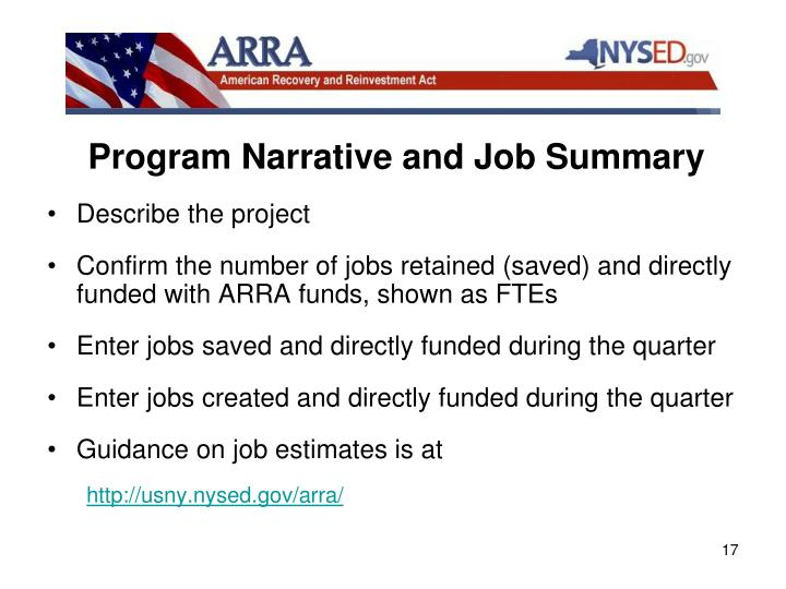Program Narrative and Job Summary