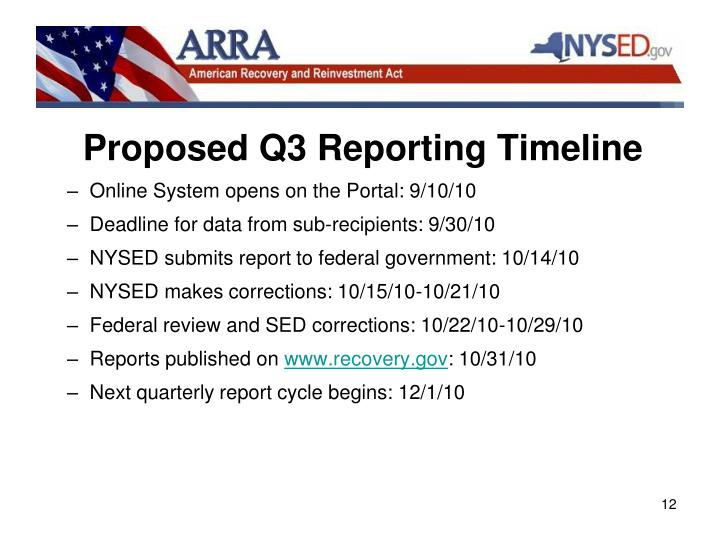 Proposed Q3 Reporting Timeline