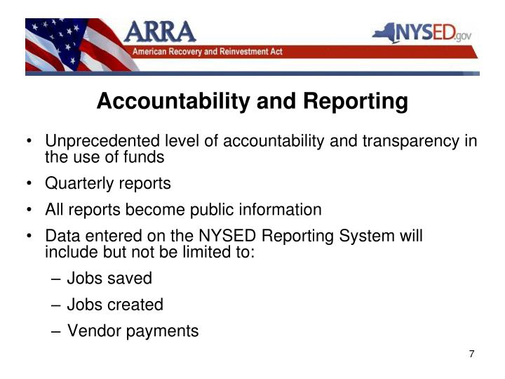 Accountability and Reporting