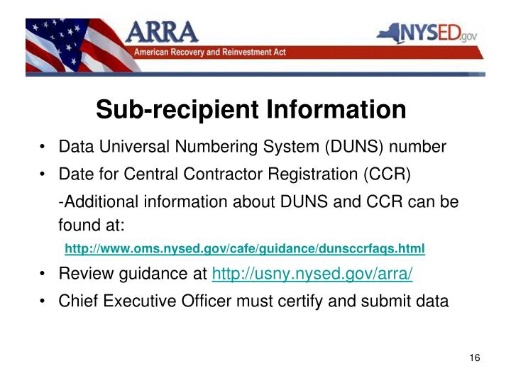 Sub-recipient Information