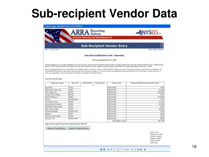 Sub-recipient Vendor Data
