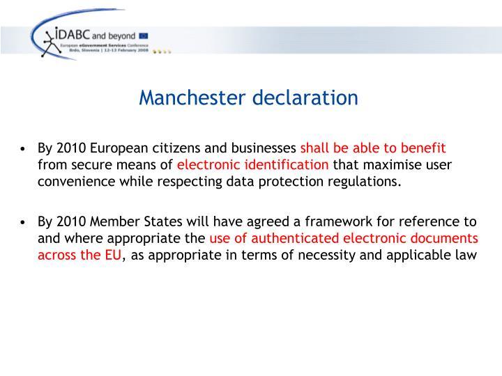 Manchester declaration