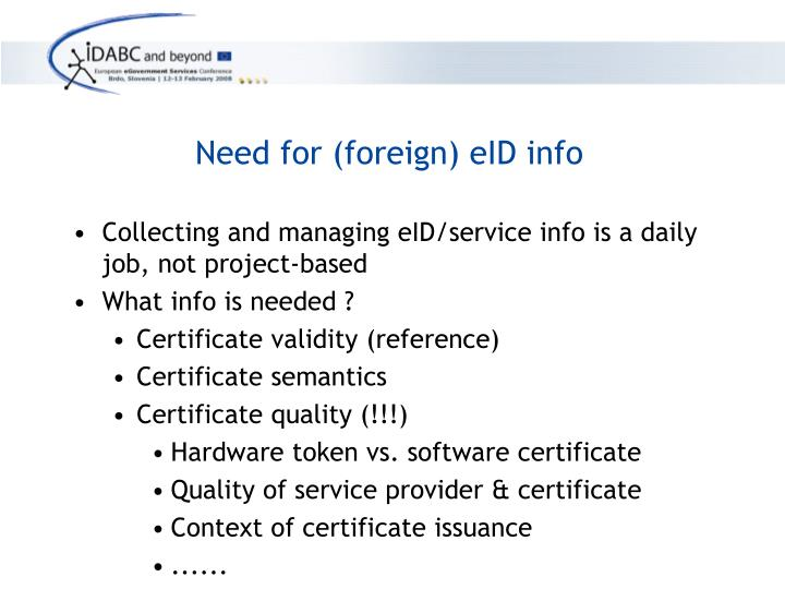 Need for (foreign) eID info