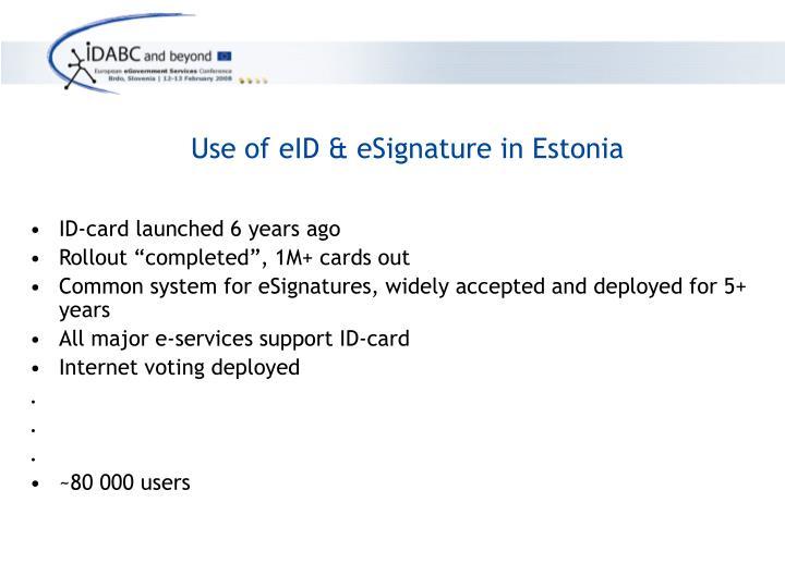 Use of eID & eSignature in Estonia