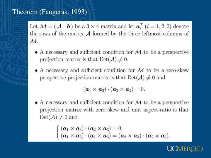 Theorem (Faugeras, 1993)
