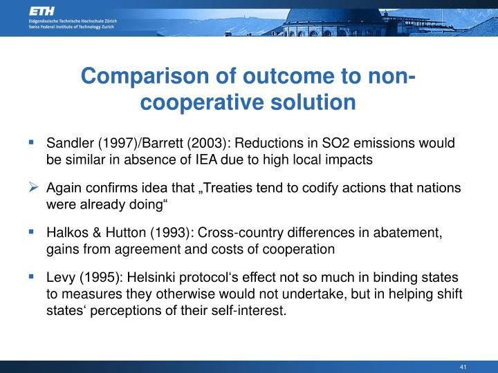 Comparison of outcome to non-cooperative solution