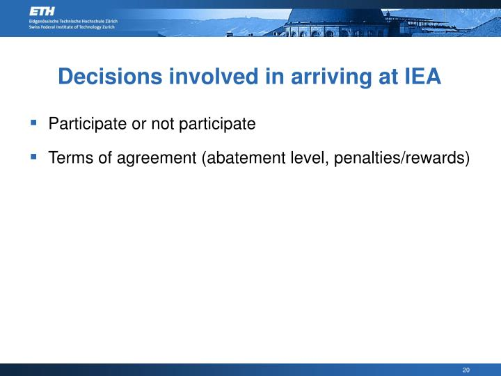 Decisions involved in arriving at IEA