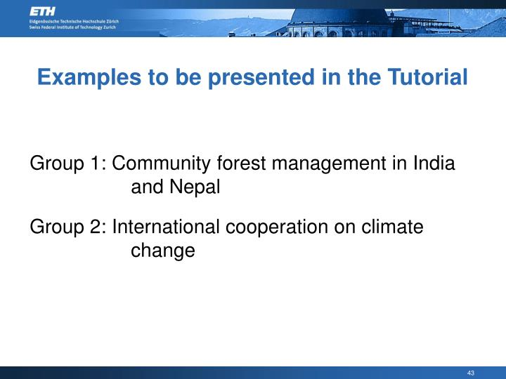 Examples to be presented in the Tutorial