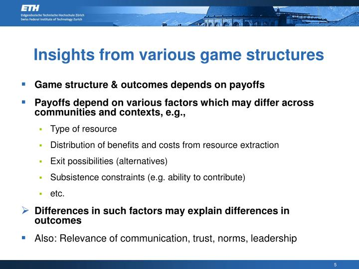 Insights from various game structures
