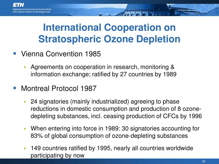 International Cooperation on Stratospheric Ozone Depletion