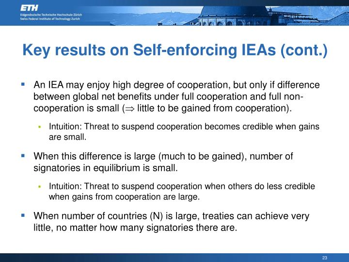 Key results on Self-enforcing IEAs (cont.)