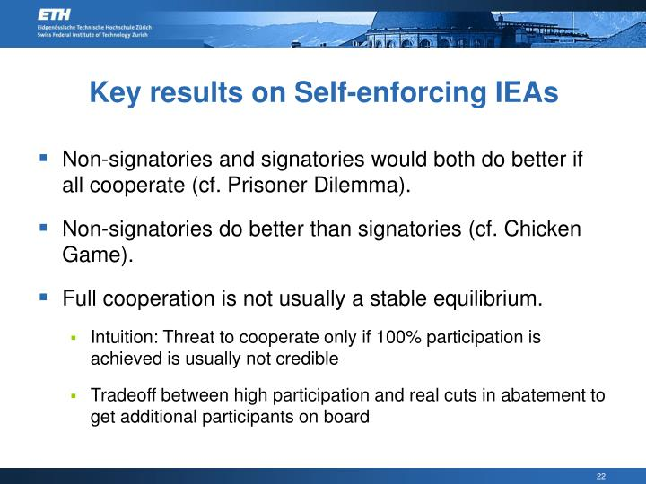 Key results on Self-enforcing IEAs