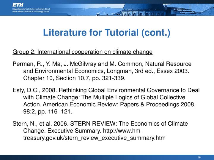 Literature for Tutorial (cont.)