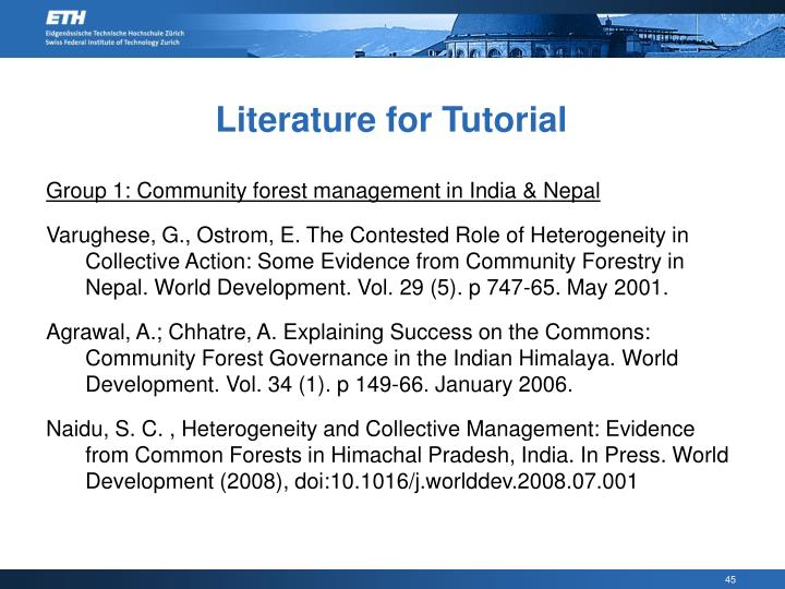Literature for Tutorial
