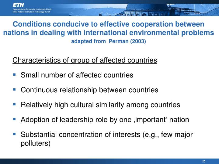 Conditions conducive to effective cooperation between nations in dealing with international environmental problems