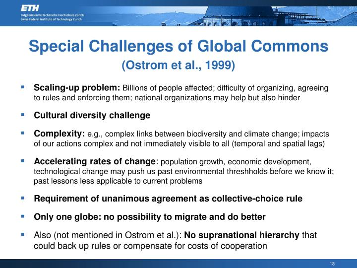 Special Challenges of Global Commons