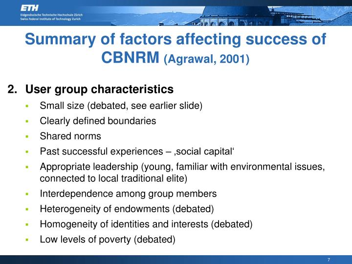 Summary of factors affecting success of CBNRM