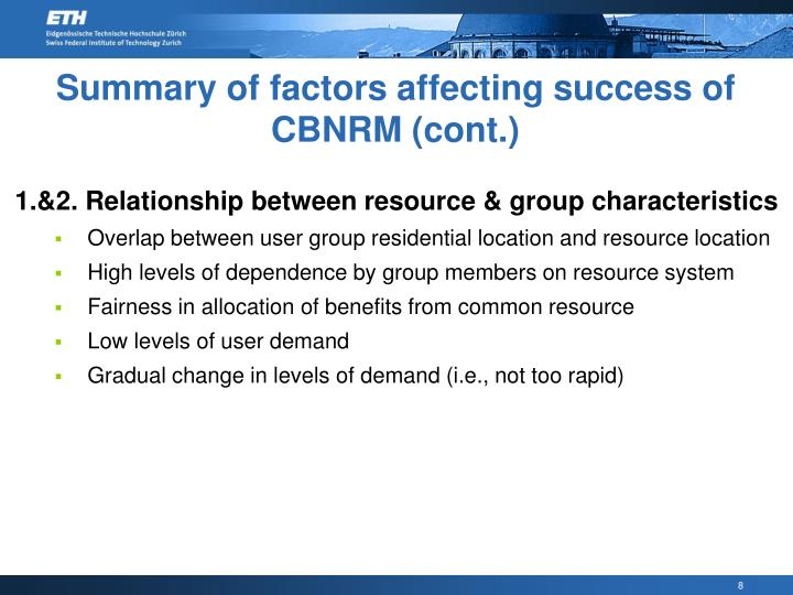 Summary of factors affecting success of CBNRM (cont.)