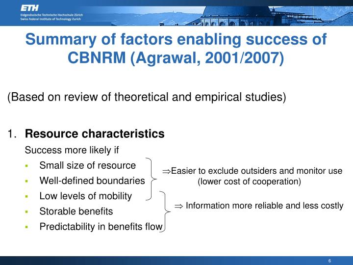 Summary of factors enabling success of CBNRM (Agrawal, 2001/2007)