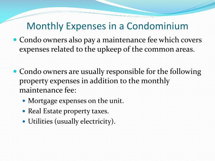 Monthly Expenses in a Condominium
