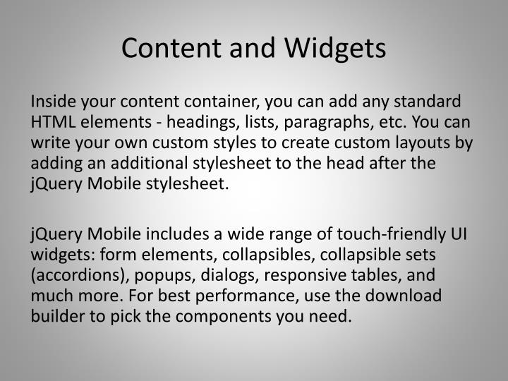 Content and Widgets