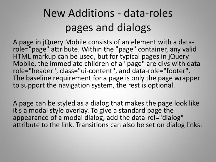 New additions data roles pages and dialogs