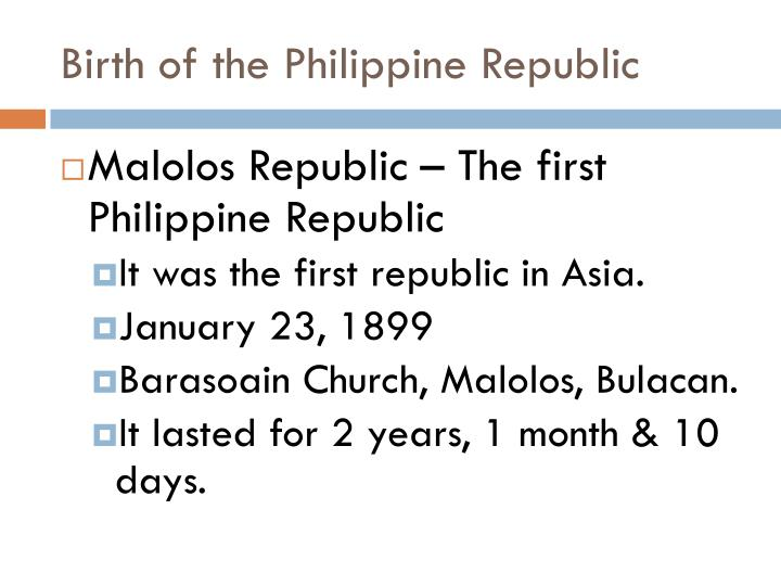 Birth of the Philippine Republic