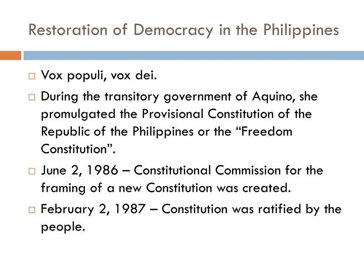 Restoration of Democracy in the Philippines