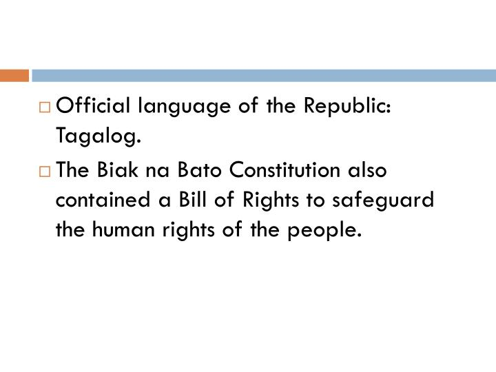 Official language of the Republic: