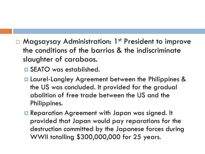 Magsaysay Administration: 1