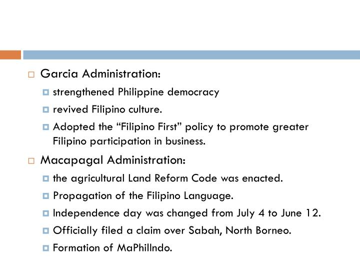Garcia Administration: