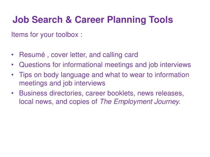 Job Search & Career Planning Tools