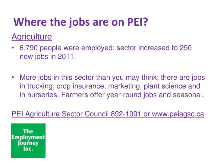 Where the jobs are on pei