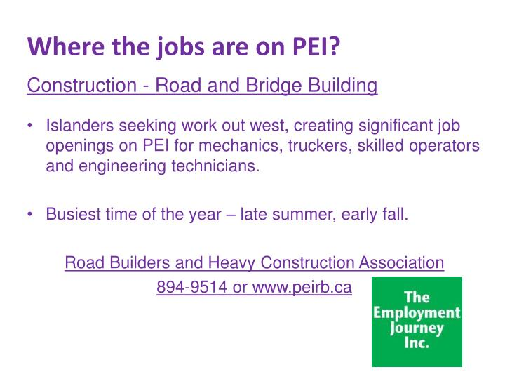 Where the jobs are on PEI?