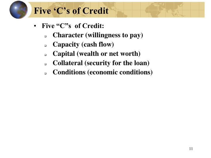 Five 'C's of Credit