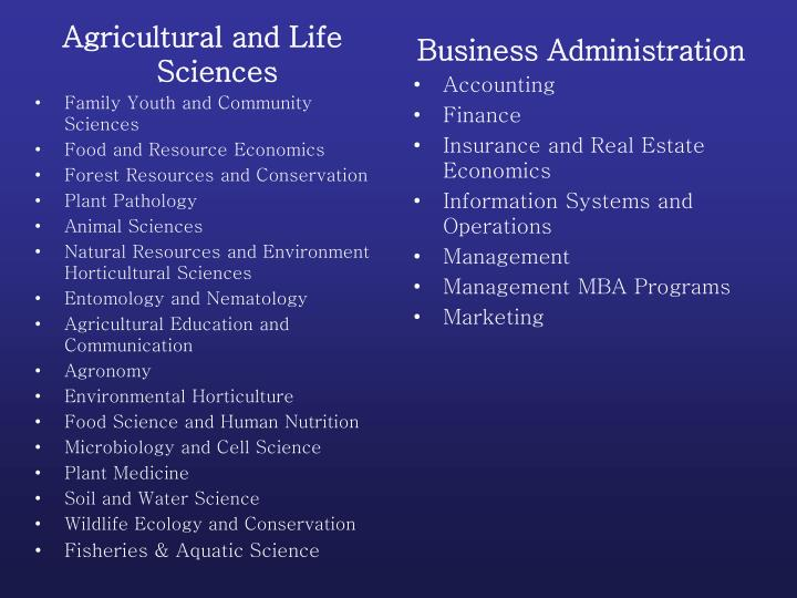 Agricultural and Life Sciences