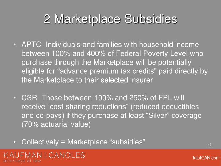 2 Marketplace Subsidies