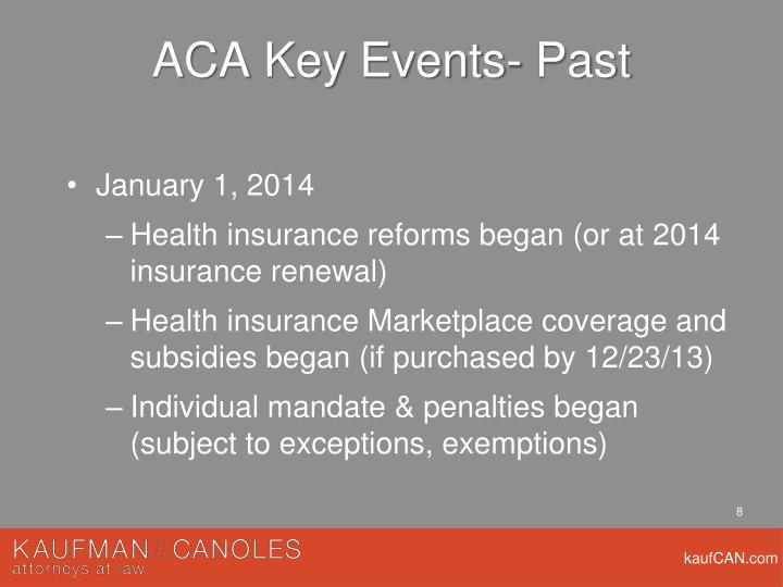 ACA Key Events- Past