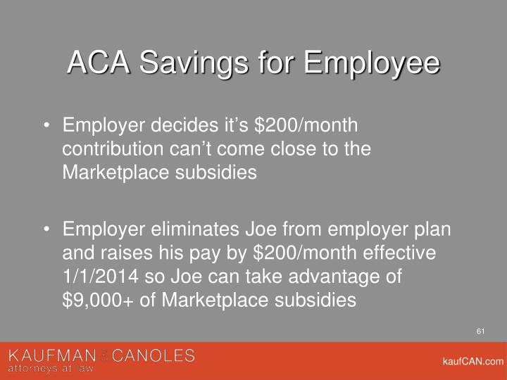 ACA Savings for Employee
