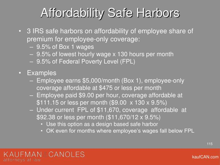 Affordability Safe Harbors