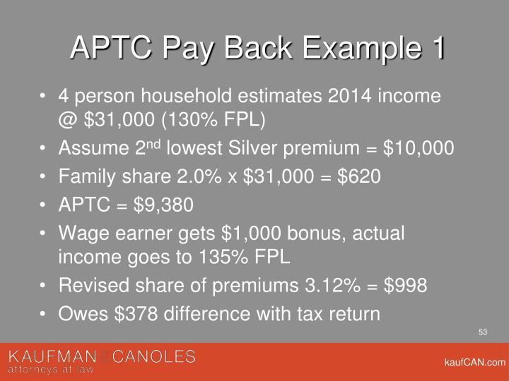 APTC Pay Back Example 1