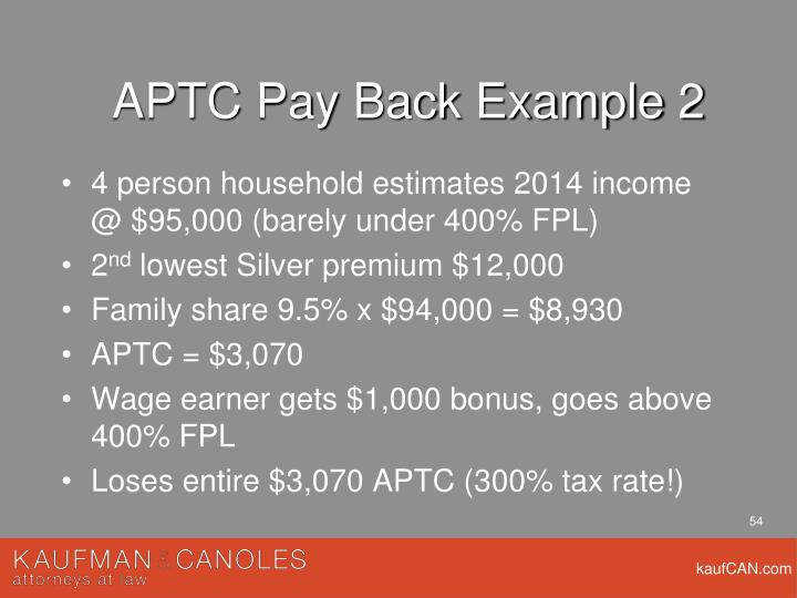 APTC Pay Back Example 2