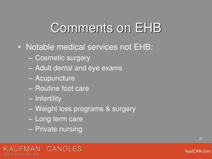 Comments on EHB